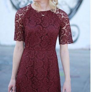 Madewell Mongolia Burgundy Lace Dress